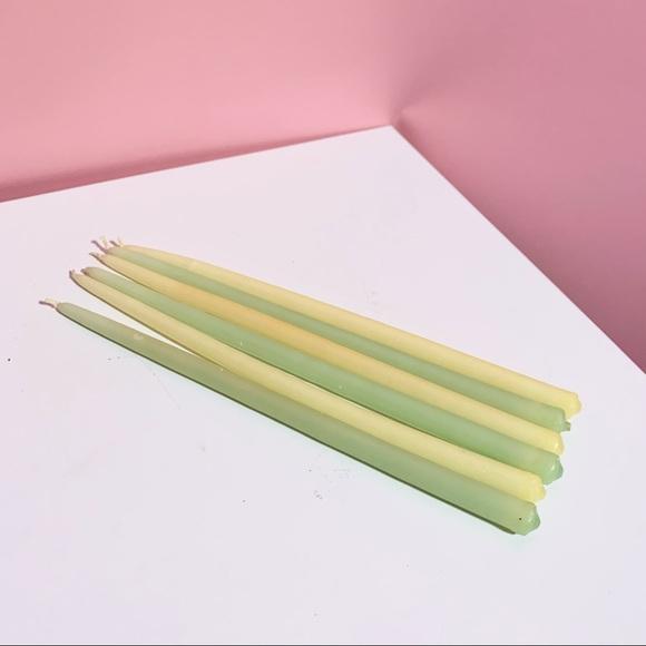 Vintage green/yellow candlesticks